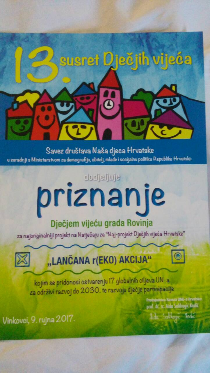 """""""R(ECO)azione a catena – Lančana r(EKO)akcija"""" il miglior progetto dei Consigli cittadini dei bambini in Croazia"""