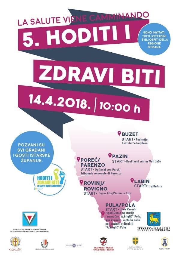 """La manifestazione """"La salute viene camminando"""" si terrà il 14 aprile 2018"""