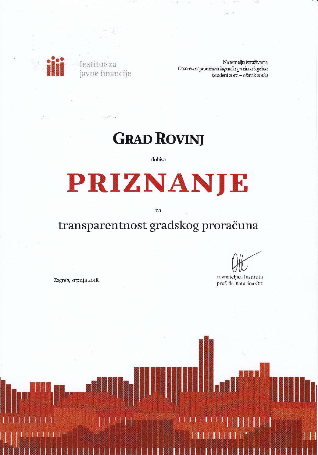 Alla Città di Rovinj-Rovigno è stato assegnato il premio per la trasparenza e la responsabilità dell'autogoverno locale