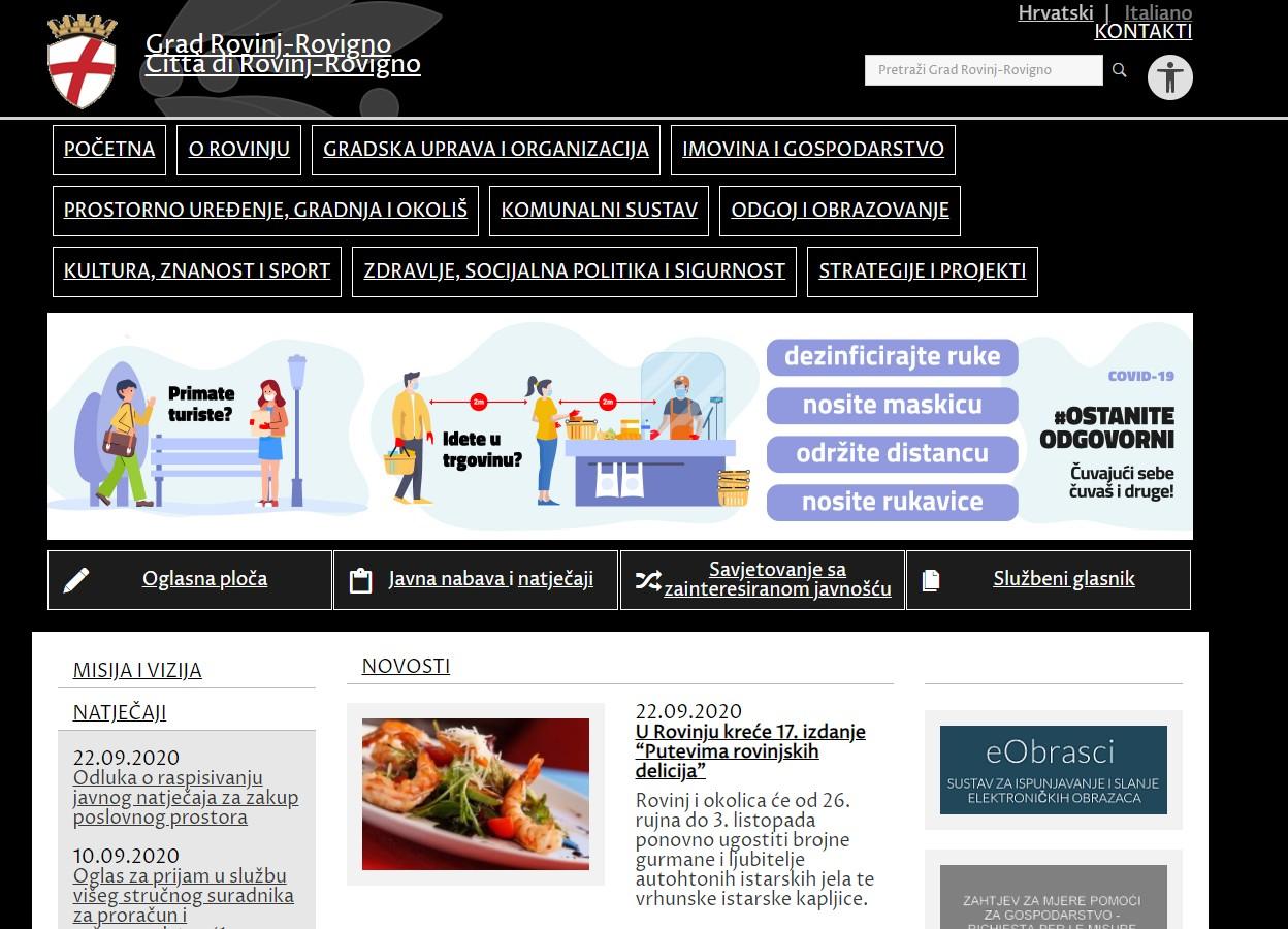 Grad Rovinj-Rovigno svoje stranice učinio pristupačnima osobama sa smanjenom sposobnosti za korištenje digitalnog sadržaja