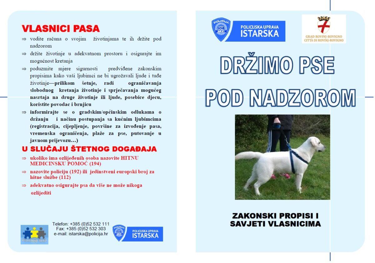 Preventivna kampanja PU Istarske: «Držimo pse pod nadzorom» - glavna fotografija