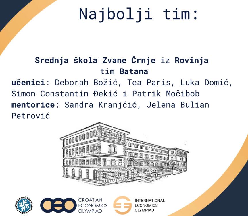 Učenici SŠ Zvane Črnje predstavljaju Hrvatsku na Internacionalnoj ekonomskoj olimpijadi - glavna fotografija