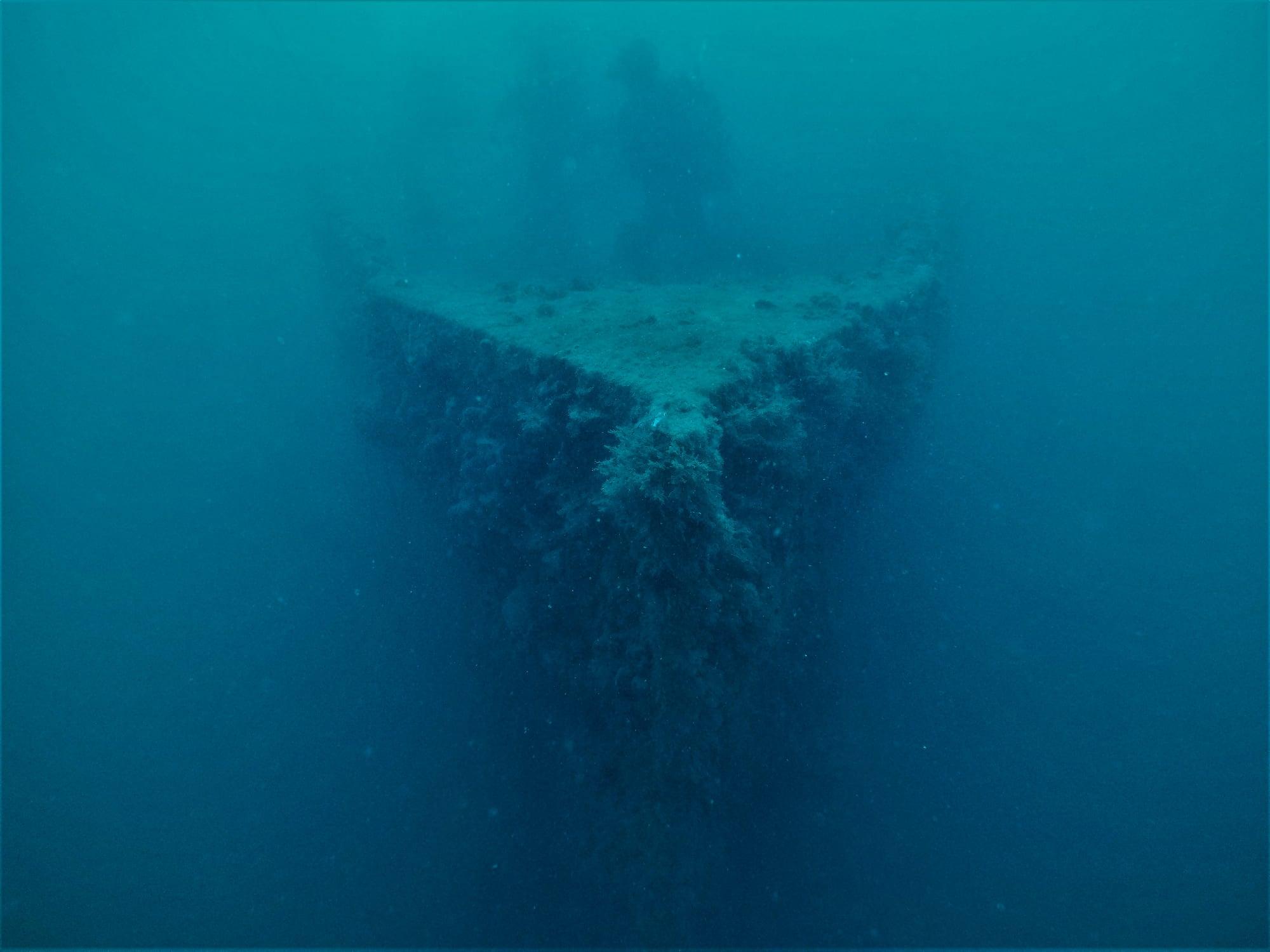 Nel corso dell'esercitazione di ricerca e soccorso i subacquei istriani hanno deposto una ghirlanda di fiori sul Baron Gautsch